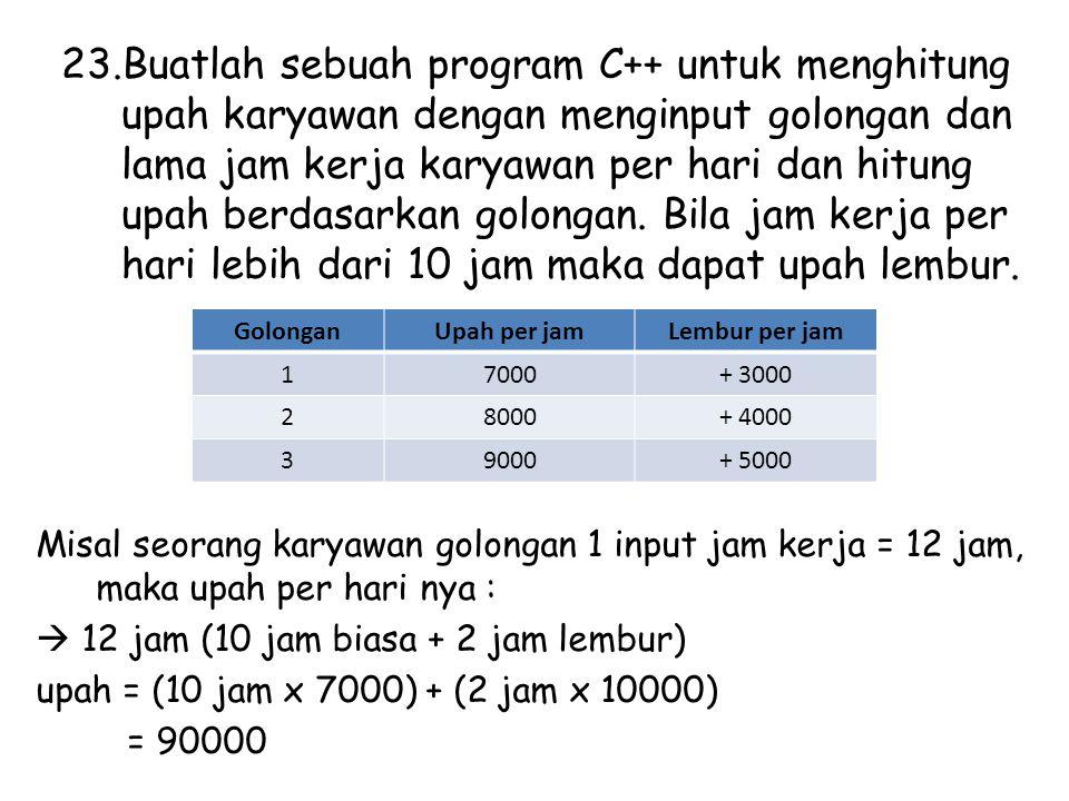 23.Buatlah sebuah program C++ untuk menghitung upah karyawan dengan menginput golongan dan lama jam kerja karyawan per hari dan hitung upah berdasarkan golongan.