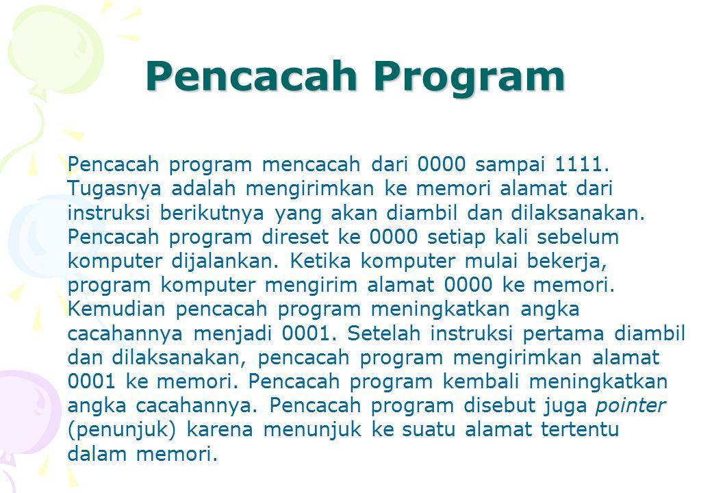 Pencacah Program Pencacah program mencacah dari 0000 sampai 1111. Tugasnya adalah mengirimkan ke memori alamat dari instruksi berikutnya yang akan dia
