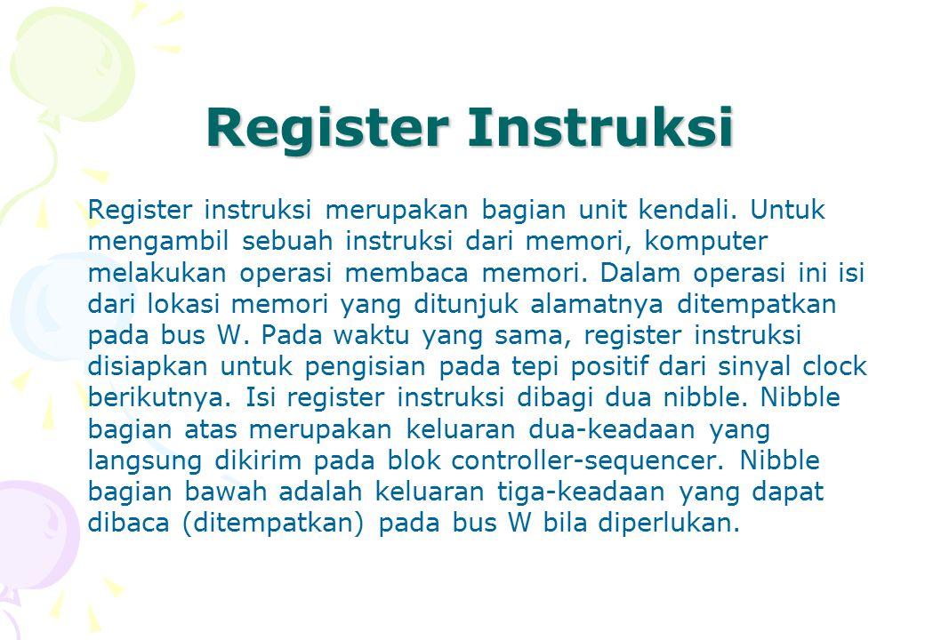 Register Instruksi Register instruksi merupakan bagian unit kendali. Untuk mengambil sebuah instruksi dari memori, komputer melakukan operasi membaca