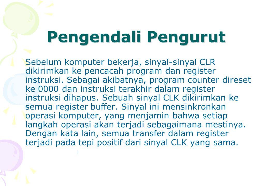 Pengendali Pengurut Sebelum komputer bekerja, sinyal-sinyal CLR dikirimkan ke pencacah program dan register instruksi. Sebagai akibatnya, program coun