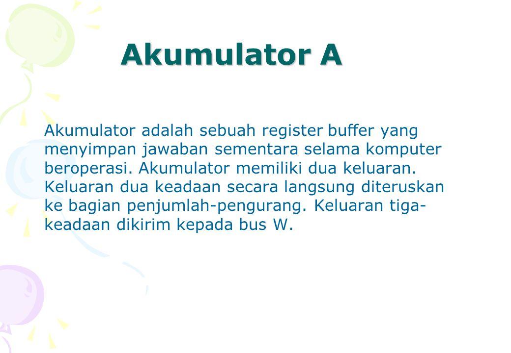 Akumulator A Akumulator adalah sebuah register buffer yang menyimpan jawaban sementara selama komputer beroperasi. Akumulator memiliki dua keluaran. K