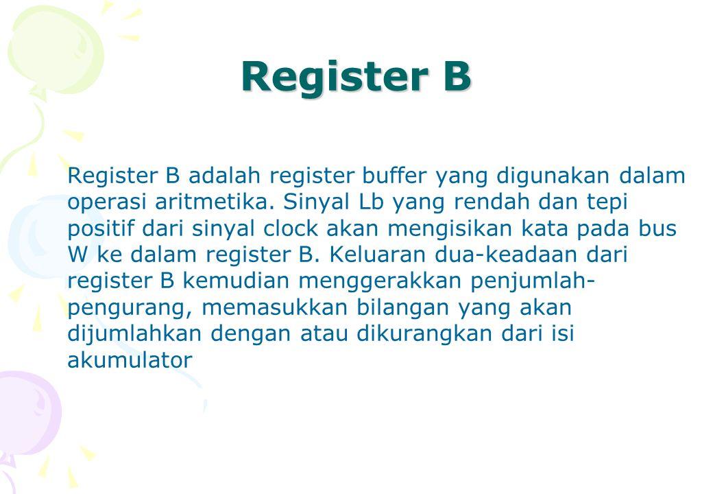 Register B Register B adalah register buffer yang digunakan dalam operasi aritmetika. Sinyal Lb yang rendah dan tepi positif dari sinyal clock akan me