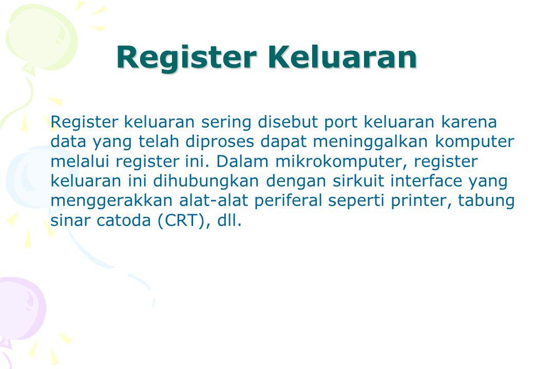 Register Keluaran Register keluaran sering disebut port keluaran karena data yang telah diproses dapat meninggalkan komputer melalui register ini. Dal