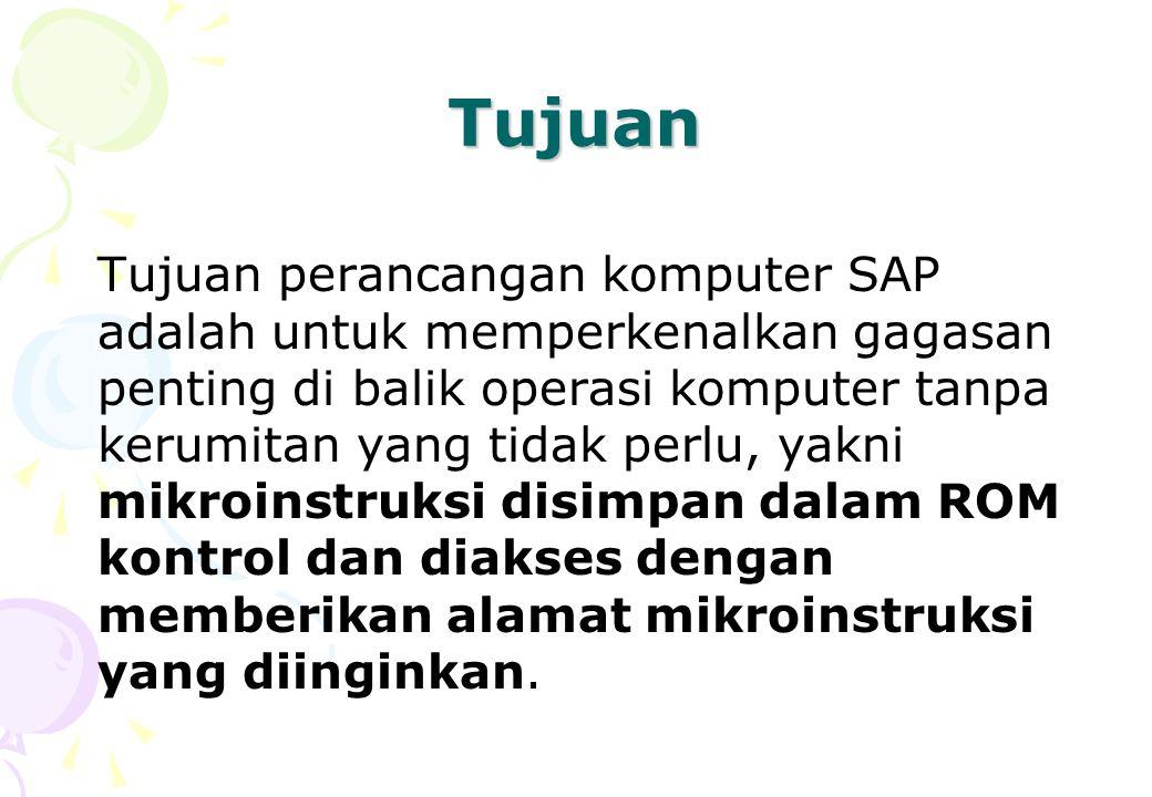 Tujuan Tujuan perancangan komputer SAP adalah untuk memperkenalkan gagasan penting di balik operasi komputer tanpa kerumitan yang tidak perlu, yakni m