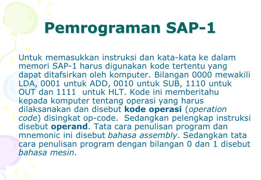 Pemrograman SAP-1 Untuk memasukkan instruksi dan kata-kata ke dalam memori SAP-1 harus digunakan kode tertentu yang dapat ditafsirkan oleh komputer. B