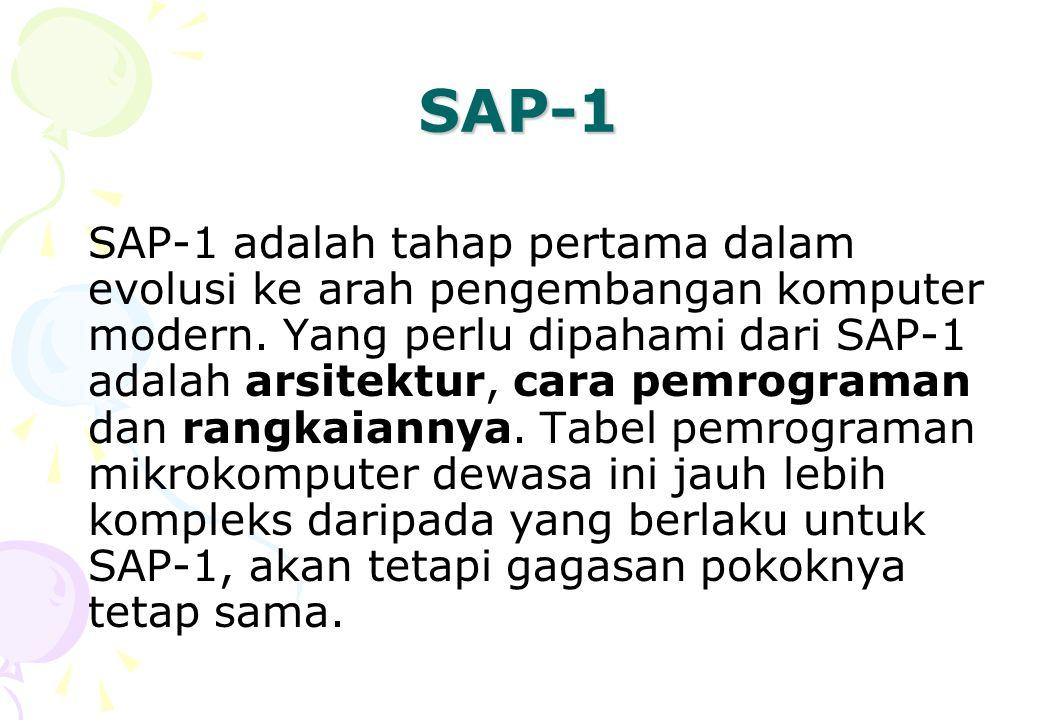 SAP-1 SAP-1 adalah tahap pertama dalam evolusi ke arah pengembangan komputer modern. Yang perlu dipahami dari SAP-1 adalah arsitektur, cara pemrograma