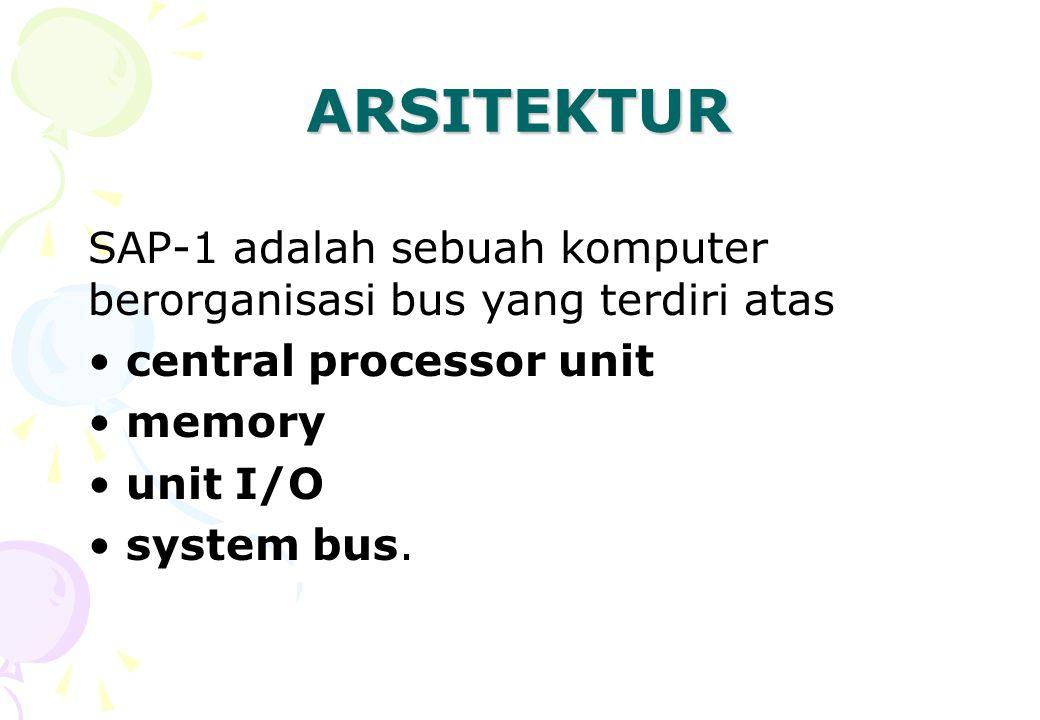 ARSITEKTUR SAP-1 adalah sebuah komputer berorganisasi bus yang terdiri atas central processor unit memory unit I/O system bus.