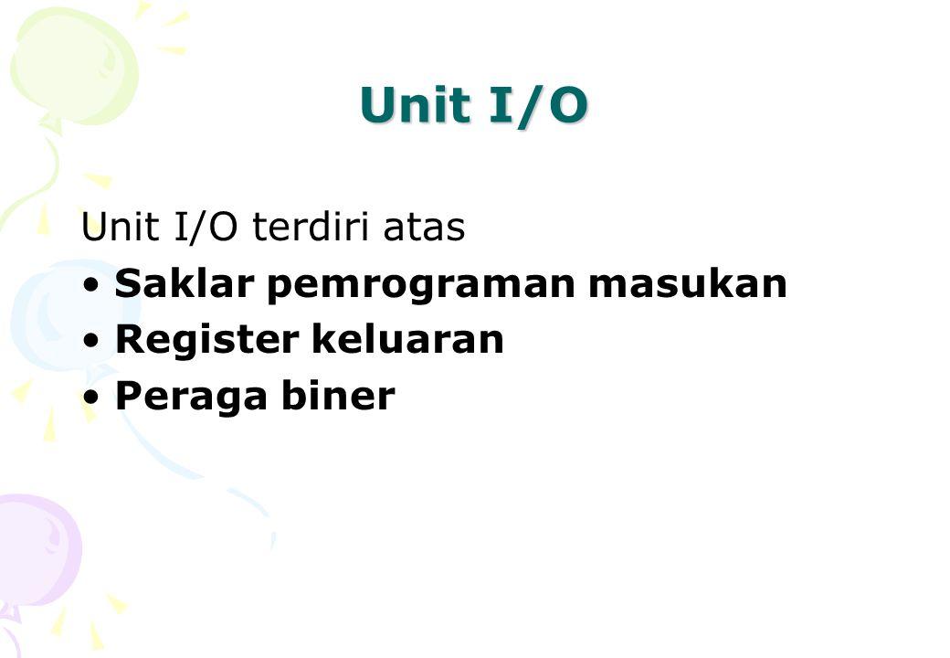 Unit I/O Unit I/O terdiri atas Saklar pemrograman masukan Register keluaran Peraga biner