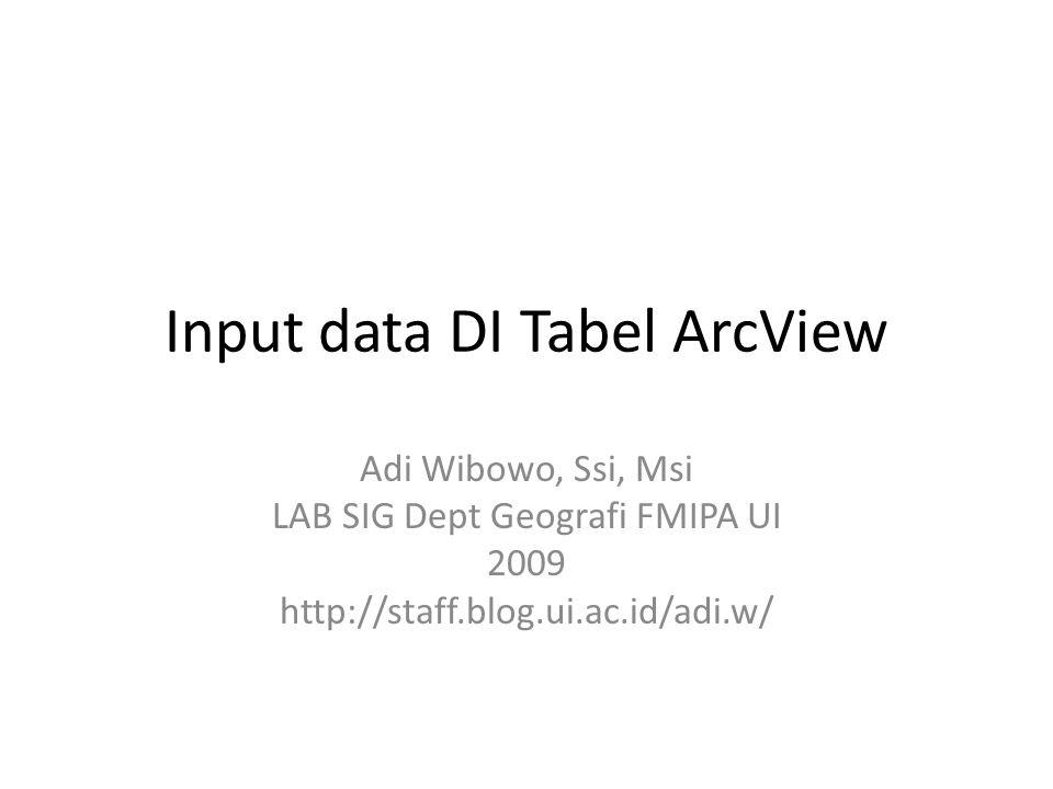 Input data DI Tabel ArcView Adi Wibowo, Ssi, Msi LAB SIG Dept Geografi FMIPA UI 2009 http://staff.blog.ui.ac.id/adi.w/