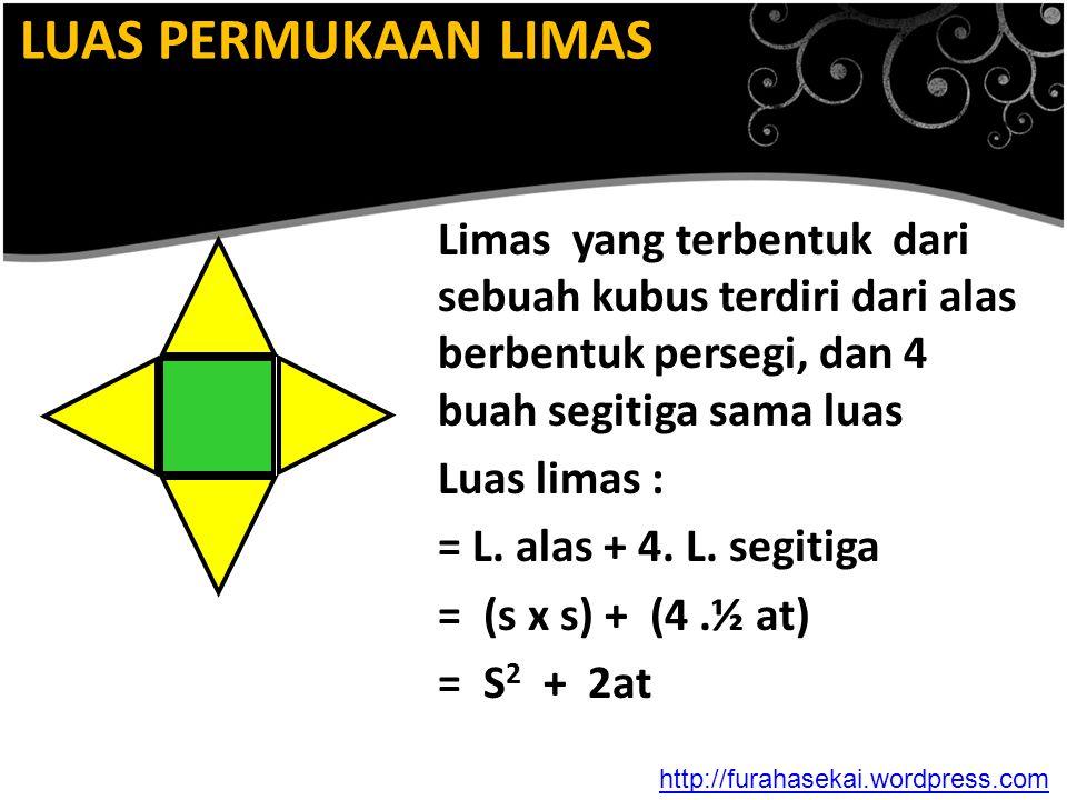 LUAS PERMUKAAN LIMAS Limas yang terbentuk dari sebuah kubus terdiri dari alas berbentuk persegi, dan 4 buah segitiga sama luas Luas limas : = L. alas