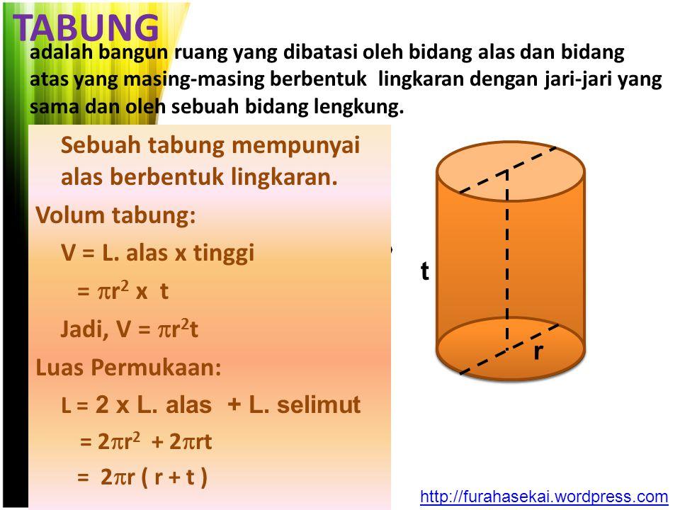 TABUNG adalah bangun ruang yang dibatasi oleh bidang alas dan bidang atas yang masing-masing berbentuk lingkaran dengan jari-jari yang sama dan oleh s