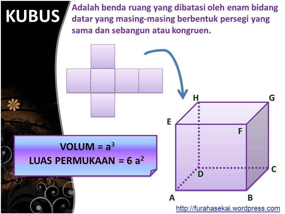 KUBUS A H E F D C B G VOLUM = a 3 LUAS PERMUKAAN = 6 a 2 Adalah benda ruang yang dibatasi oleh enam bidang datar yang masing-masing berbentuk persegi