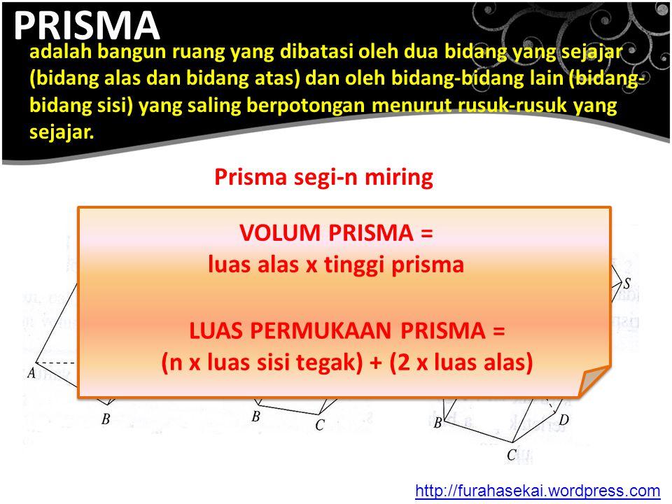 PRISMA adalah bangun ruang yang dibatasi oleh dua bidang yang sejajar (bidang alas dan bidang atas) dan oleh bidang-bidang lain (bidang- bidang sisi)