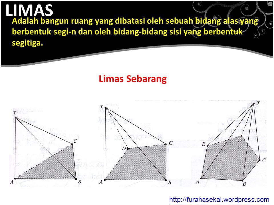 LIMAS Adalah bangun ruang yang dibatasi oleh sebuah bidang alas yang berbentuk segi-n dan oleh bidang-bidang sisi yang berbentuk segitiga. Limas Sebar