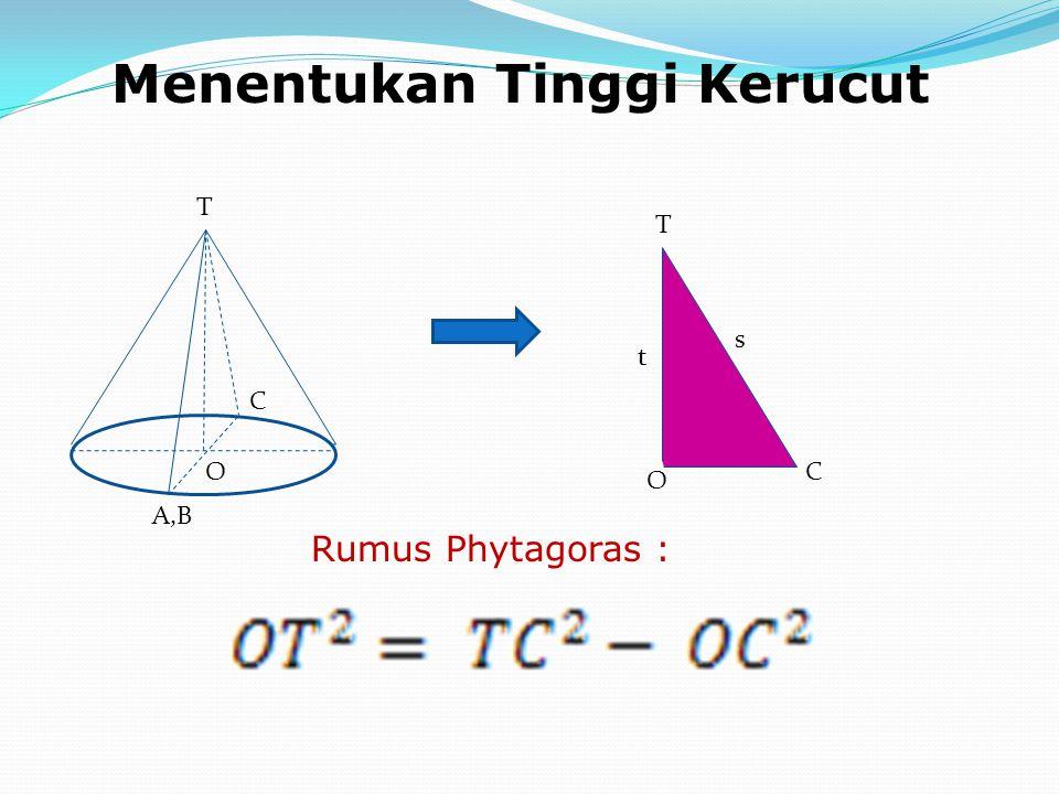 Menentukan Tinggi Kerucut O O T T C C A,B t s Rumus Phytagoras :