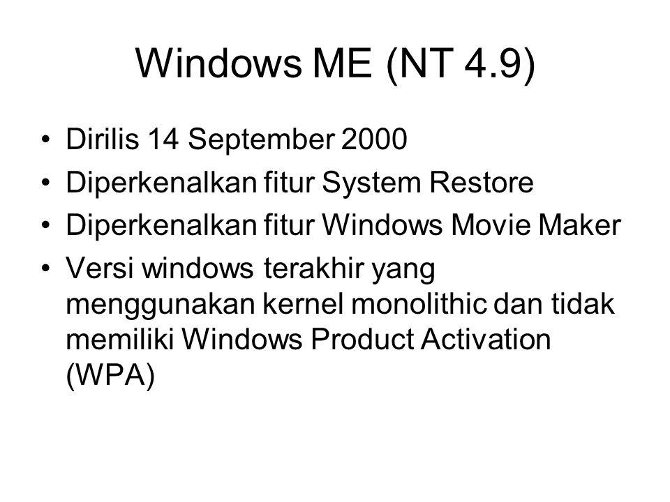 Windows ME (NT 4.9) Dirilis 14 September 2000 Diperkenalkan fitur System Restore Diperkenalkan fitur Windows Movie Maker Versi windows terakhir yang m