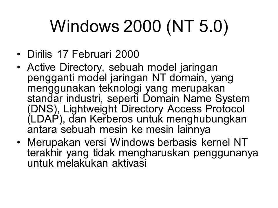 Windows 2000 (NT 5.0) Dirilis 17 Februari 2000 Active Directory, sebuah model jaringan pengganti model jaringan NT domain, yang menggunakan teknologi yang merupakan standar industri, seperti Domain Name System (DNS), Lightweight Directory Access Protocol (LDAP), dan Kerberos untuk menghubungkan antara sebuah mesin ke mesin lainnya Merupakan versi Windows berbasis kernel NT terakhir yang tidak mengharuskan penggunanya untuk melakukan aktivasi