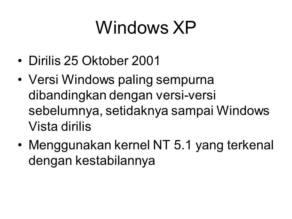 Windows XP Dirilis 25 Oktober 2001 Versi Windows paling sempurna dibandingkan dengan versi-versi sebelumnya, setidaknya sampai Windows Vista dirilis Menggunakan kernel NT 5.1 yang terkenal dengan kestabilannya