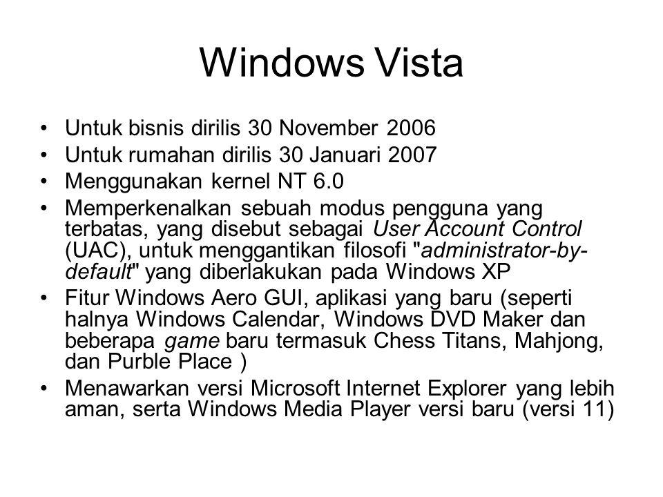 Windows Vista Untuk bisnis dirilis 30 November 2006 Untuk rumahan dirilis 30 Januari 2007 Menggunakan kernel NT 6.0 Memperkenalkan sebuah modus penggu