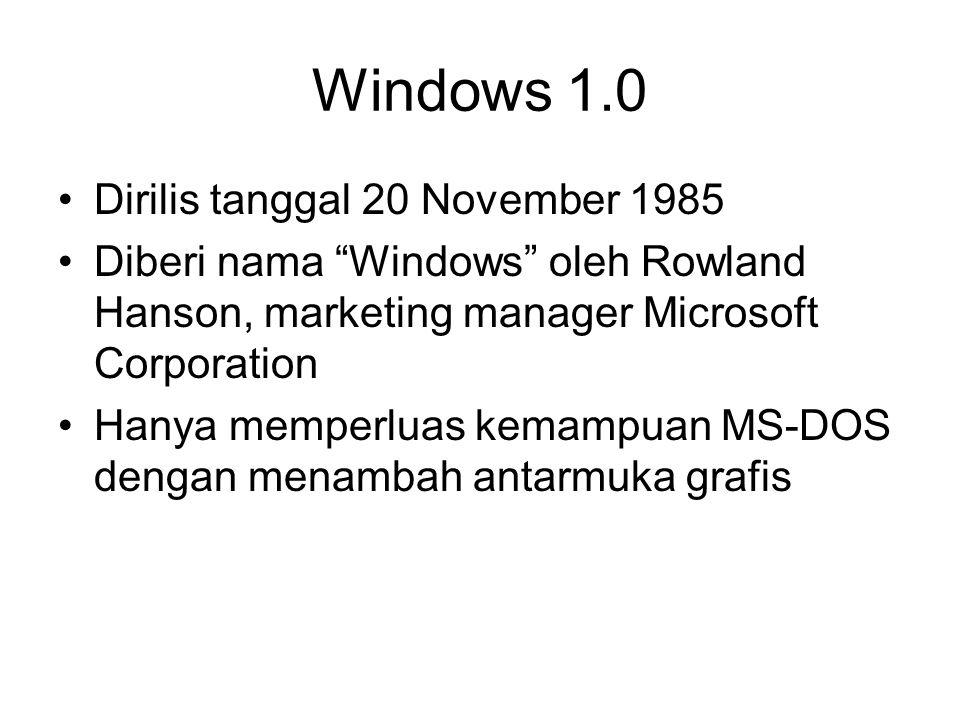 Windows 1.0 Dirilis tanggal 20 November 1985 Diberi nama Windows oleh Rowland Hanson, marketing manager Microsoft Corporation Hanya memperluas kemampuan MS-DOS dengan menambah antarmuka grafis