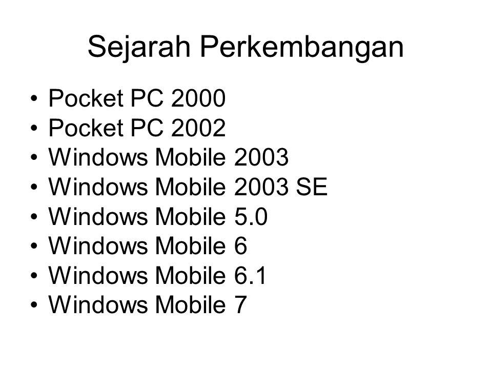 Sejarah Perkembangan Pocket PC 2000 Pocket PC 2002 Windows Mobile 2003 Windows Mobile 2003 SE Windows Mobile 5.0 Windows Mobile 6 Windows Mobile 6.1 W