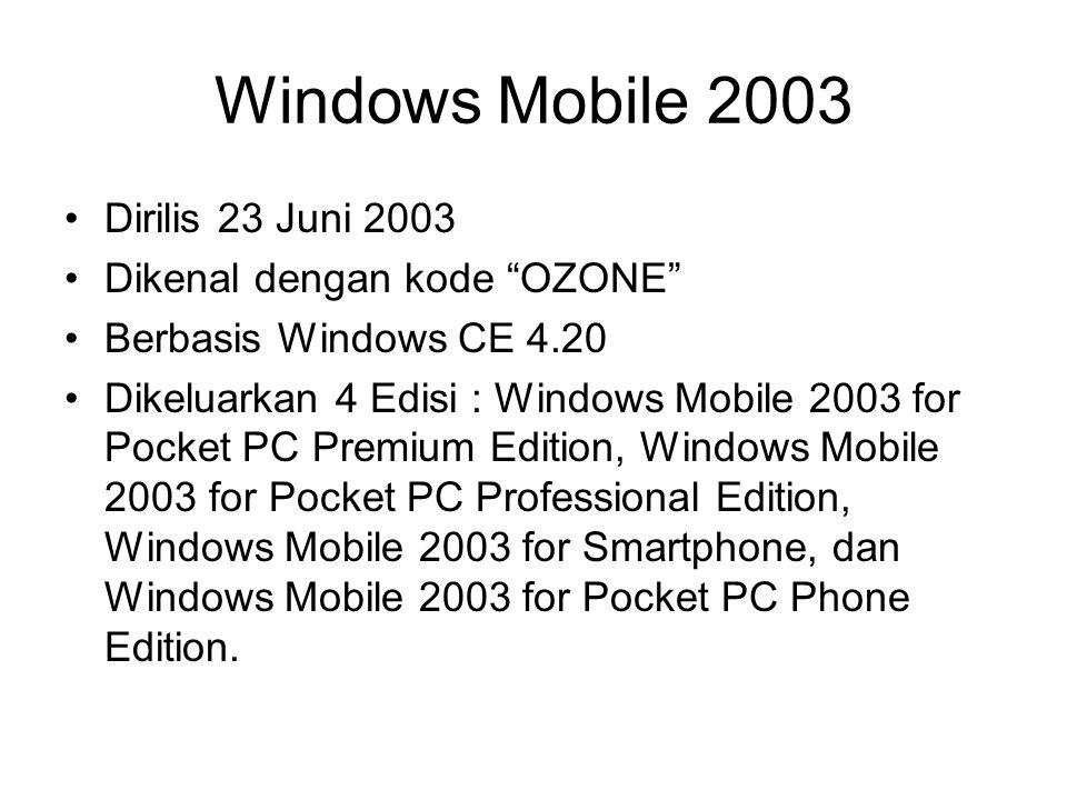 Windows Mobile 2003 Dirilis 23 Juni 2003 Dikenal dengan kode OZONE Berbasis Windows CE 4.20 Dikeluarkan 4 Edisi : Windows Mobile 2003 for Pocket PC Premium Edition, Windows Mobile 2003 for Pocket PC Professional Edition, Windows Mobile 2003 for Smartphone, dan Windows Mobile 2003 for Pocket PC Phone Edition.