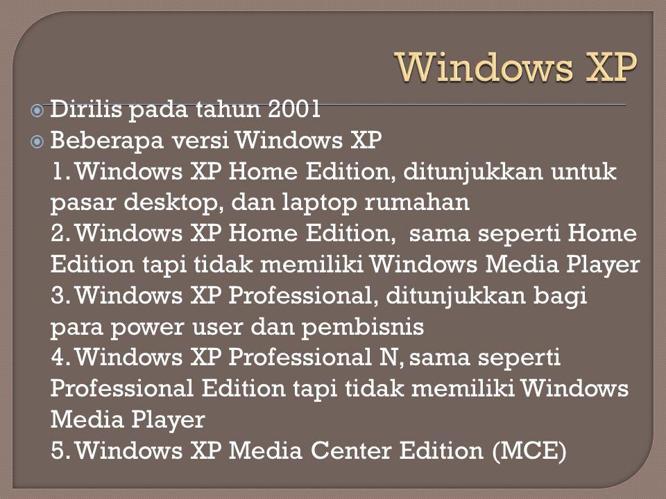  Dirilis pada tahun 2001  Beberapa versi Windows XP 1. Windows XP Home Edition, ditunjukkan untuk pasar desktop, dan laptop rumahan 2. Windows XP Ho