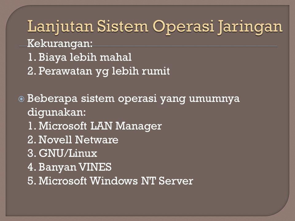 Kekurangan: 1. Biaya lebih mahal 2. Perawatan yg lebih rumit  Beberapa sistem operasi yang umumnya digunakan: 1. Microsoft LAN Manager 2. Novell Netw