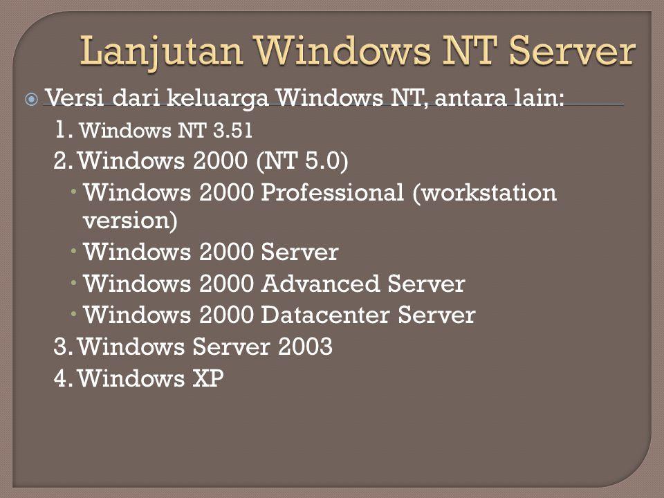  Versi dari keluarga Windows NT, antara lain: 1. Windows NT 3.51 2. Windows 2000 (NT 5.0)  Windows 2000 Professional (workstation version)  Windows