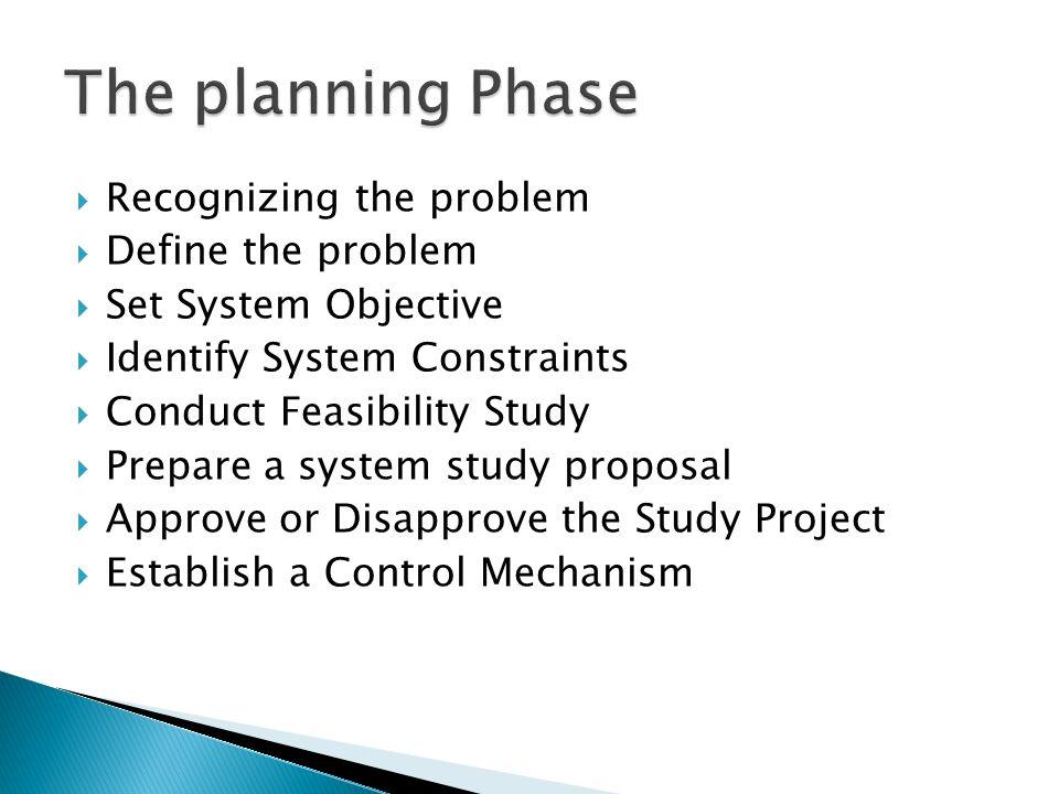  Recognizing the problem  Define the problem  Set System Objective  Identify System Constraints  Conduct Feasibility Study  Prepare a system stu