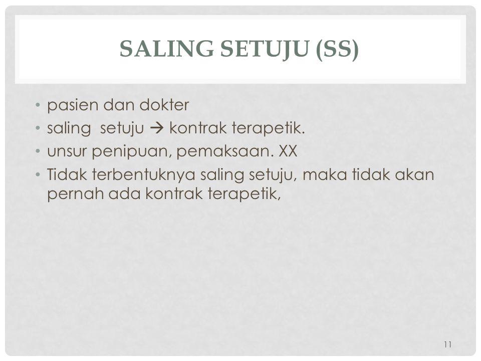 SALING SETUJU (SS) pasien dan dokter saling setuju  kontrak terapetik.