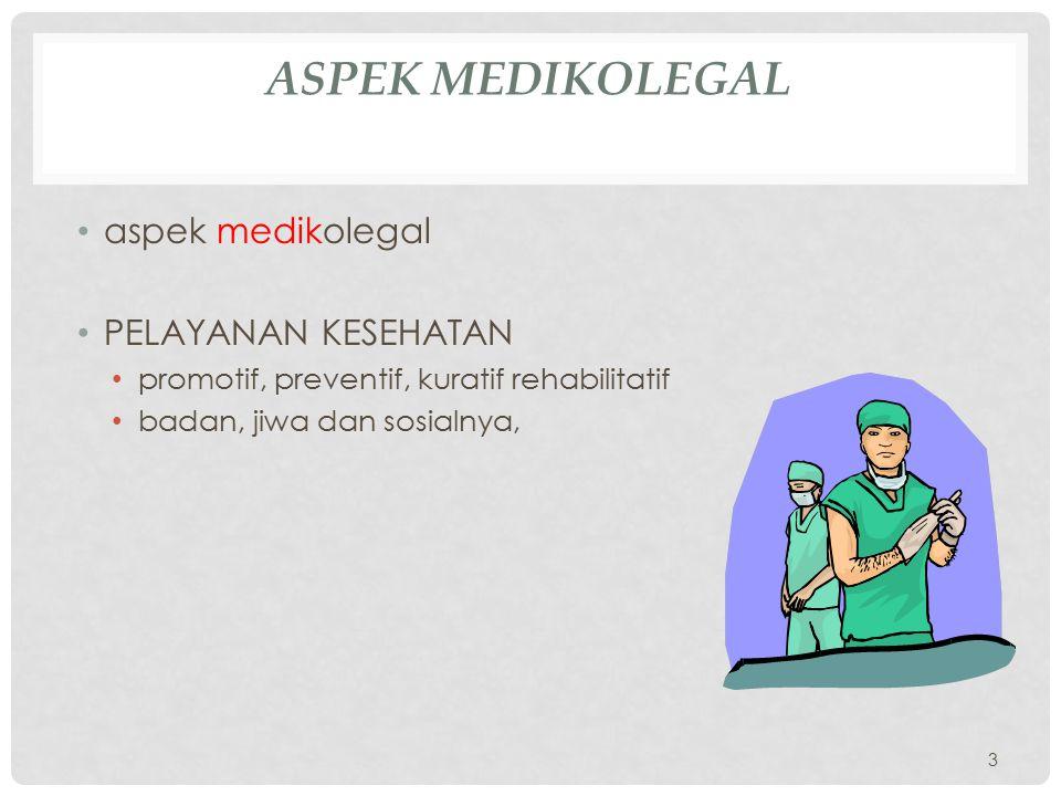 ASPEK MEDIKOLEGAL aspek medikolegal PELAYANAN KESEHATAN promotif, preventif, kuratif rehabilitatif badan, jiwa dan sosialnya, 3