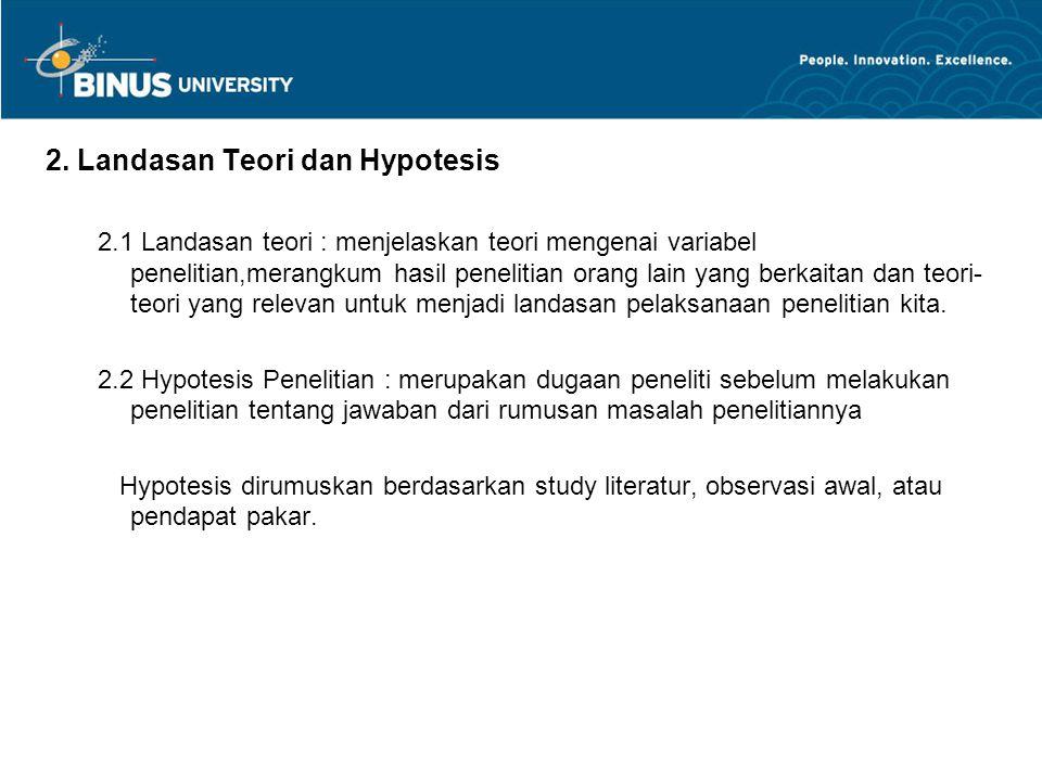 2. Landasan Teori dan Hypotesis 2.1 Landasan teori : menjelaskan teori mengenai variabel penelitian,merangkum hasil penelitian orang lain yang berkait
