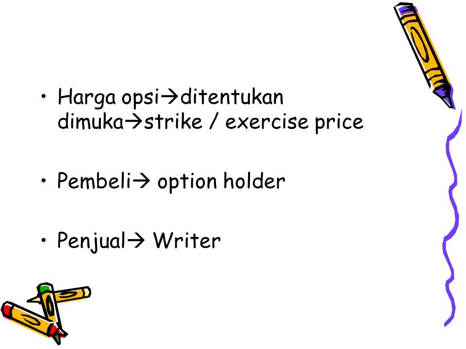 Harga opsi  ditentukan dimuka  strike / exercise price Pembeli  option holder Penjual  Writer