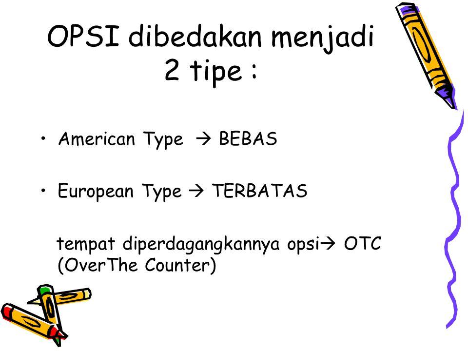 OPSI dibedakan menjadi 2 tipe : American Type  BEBAS European Type  TERBATAS tempat diperdagangkannya opsi  OTC (OverThe Counter)