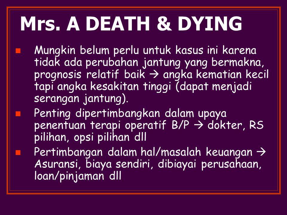 Mrs. A DEATH & DYING Mungkin belum perlu untuk kasus ini karena tidak ada perubahan jantung yang bermakna, prognosis relatif baik  angka kematian kec