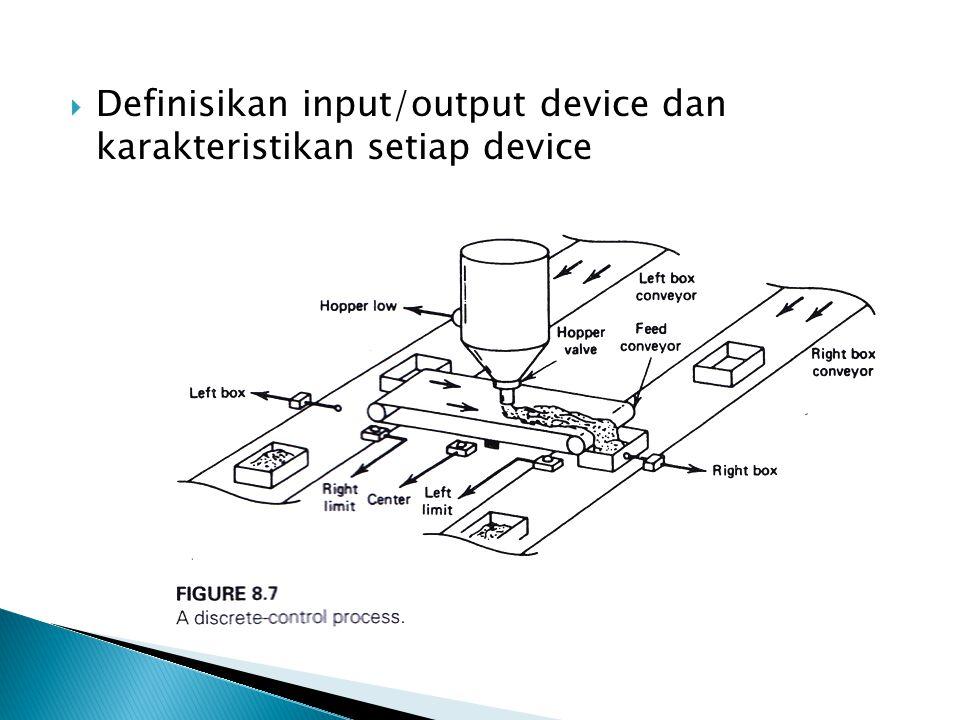  Definisikan input/output device dan karakteristikan setiap device