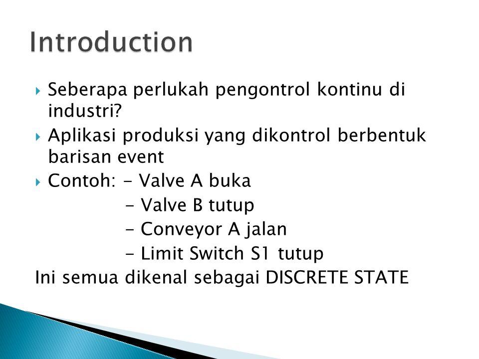  Seberapa perlukah pengontrol kontinu di industri?  Aplikasi produksi yang dikontrol berbentuk barisan event  Contoh: - Valve A buka - Valve B tutu