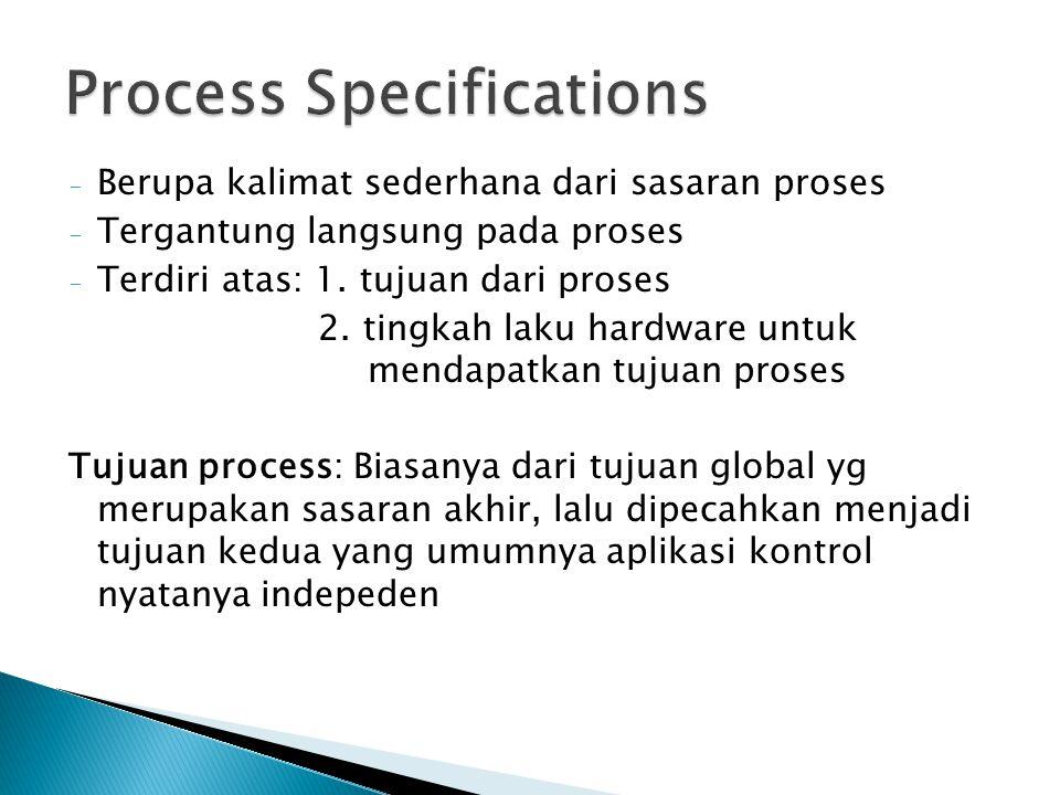 - Berupa kalimat sederhana dari sasaran proses - Tergantung langsung pada proses - Terdiri atas: 1. tujuan dari proses 2. tingkah laku hardware untuk