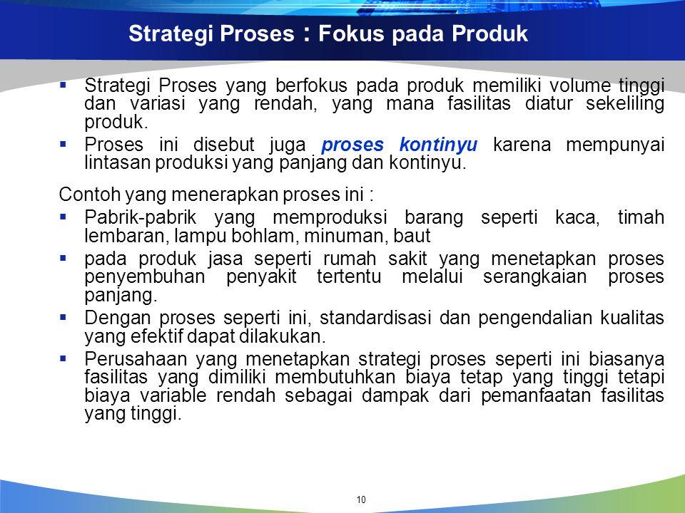 Strategi Proses : Fokus pada Produk  Strategi Proses yang berfokus pada produk memiliki volume tinggi dan variasi yang rendah, yang mana fasilitas diatur sekeliling produk.