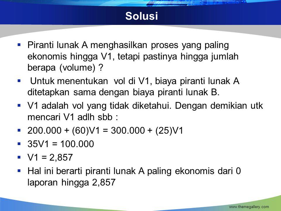 Solusi  Piranti lunak A menghasilkan proses yang paling ekonomis hingga V1, tetapi pastinya hingga jumlah berapa (volume) .