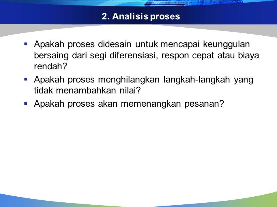 2. Analisis proses  Apakah proses didesain untuk mencapai keunggulan bersaing dari segi diferensiasi, respon cepat atau biaya rendah?  Apakah proses