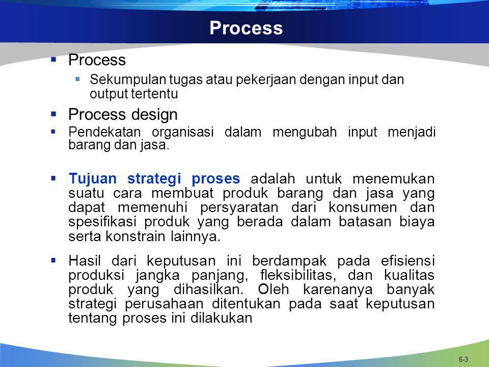 6-3 Process  Process  Sekumpulan tugas atau pekerjaan dengan input dan output tertentu  Process design  Pendekatan organisasi dalam mengubah input menjadi barang dan jasa.