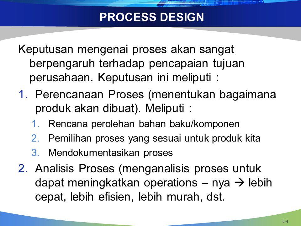 PROCESS DESIGN Keputusan mengenai proses akan sangat berpengaruh terhadap pencapaian tujuan perusahaan.