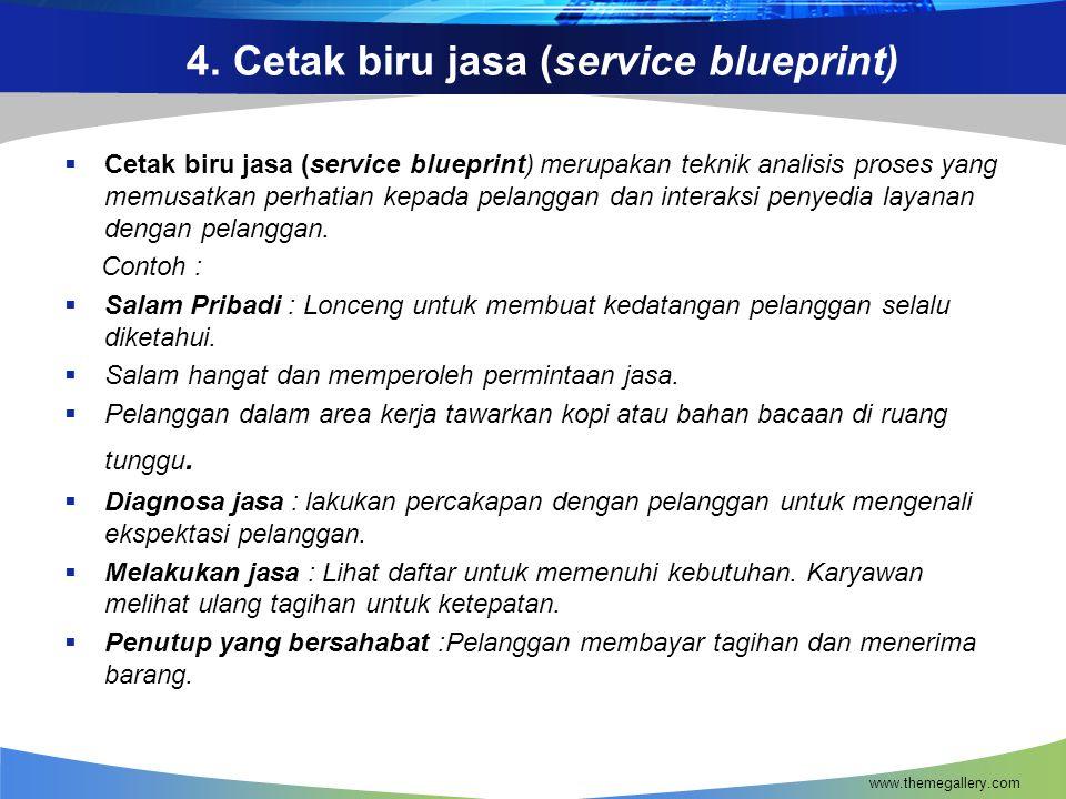 4. Cetak biru jasa (service blueprint)  Cetak biru jasa (service blueprint) merupakan teknik analisis proses yang memusatkan perhatian kepada pelangg