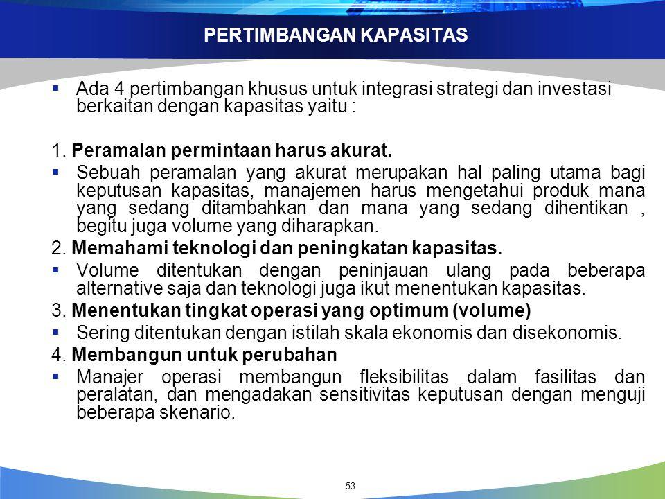 PERTIMBANGAN KAPASITAS  Ada 4 pertimbangan khusus untuk integrasi strategi dan investasi berkaitan dengan kapasitas yaitu : 1.