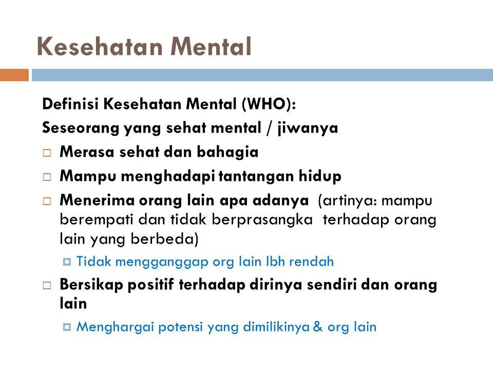 Kesehatan Mental Definisi Kesehatan Mental (WHO): Seseorang yang sehat mental / jiwanya  Merasa sehat dan bahagia  Mampu menghadapi tantangan hidup