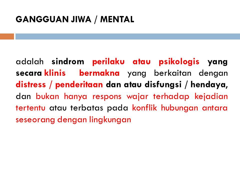 GANGGUAN JIWA / MENTAL adalah sindrom perilaku atau psikologis yang secara klinis bermakna yang berkaitan dengan distress / penderitaan dan atau disfu