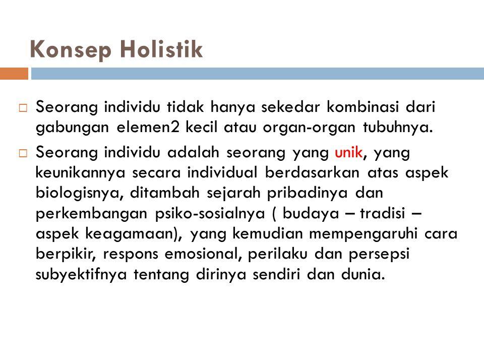 Konsep Holistik  Seorang individu tidak hanya sekedar kombinasi dari gabungan elemen2 kecil atau organ-organ tubuhnya.  Seorang individu adalah seor