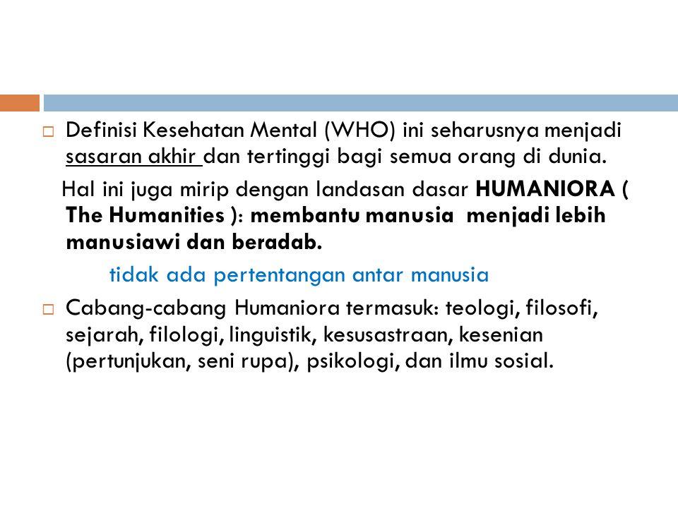 Definisi Kesehatan Mental (WHO) ini seharusnya menjadi sasaran akhir dan tertinggi bagi semua orang di dunia. Hal ini juga mirip dengan landasan das